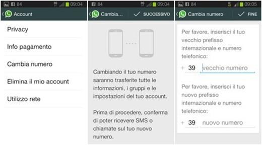 WhatsApp: cambio numero di telefono