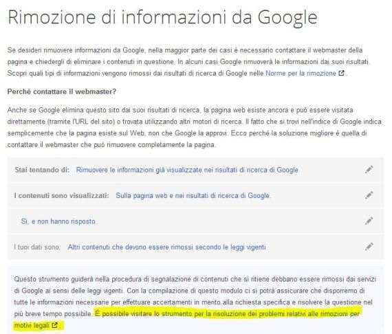 Rimozione di Informazioni da Google