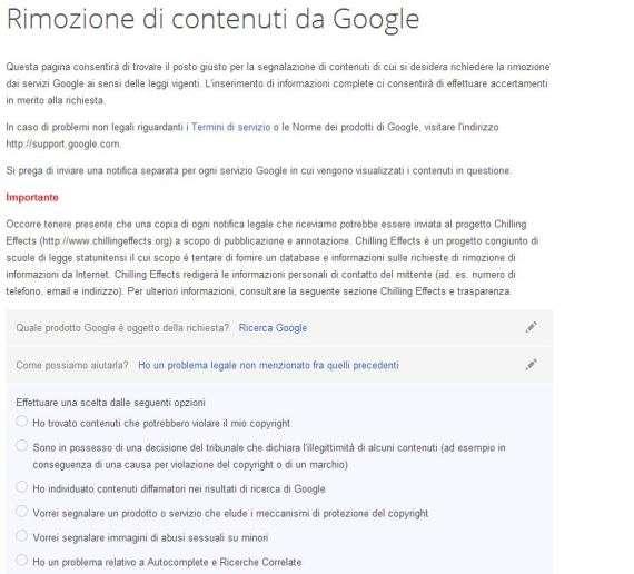 Rimozione contenuti su Google