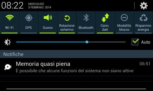 Memoria Quasi Piena su Smartphone Galaxy Android
