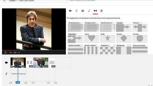 Editor Video Youtube transizione filmati