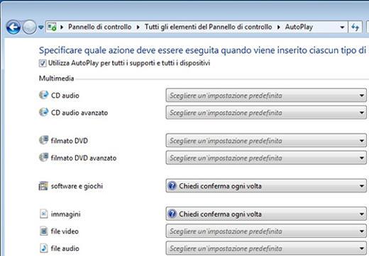 AutoPlay Nessuna Operazione