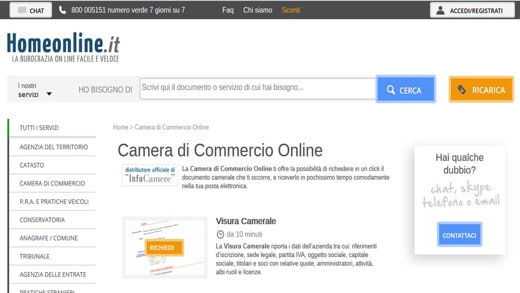 Camera di Commercio online su Homeline