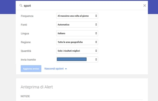 Google Alert inserimento dei filtri
