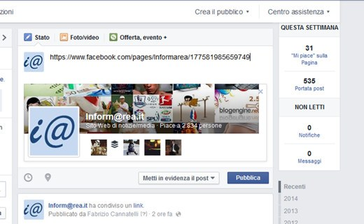 Pagina Fan di Facebook con immagine copertina