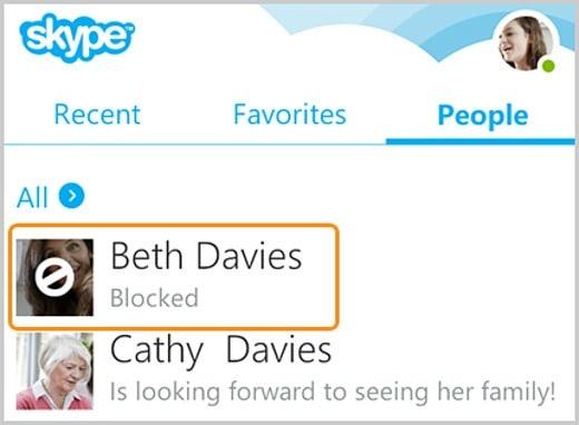 Bloccare un contatto in Skype