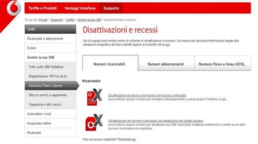 Vodafone: disattivazione e recessi