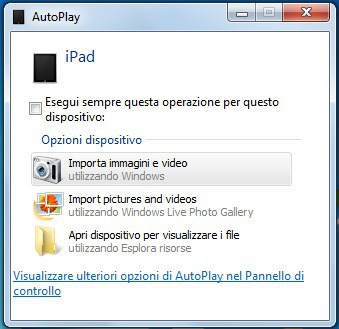 Visualizzare ulteriori opzioni di AutoPlay nel Pannello di Controllo
