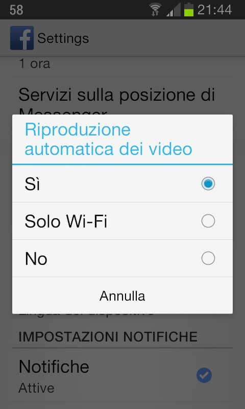 Disattivare riproduzione automatica video su smartphone