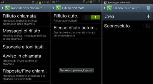 Rifiuto chiamate Galaxy Android