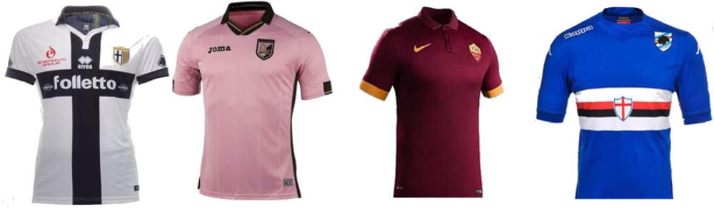 Maglie 2014-15 Parma, Palermo, Roma, Sampdoria