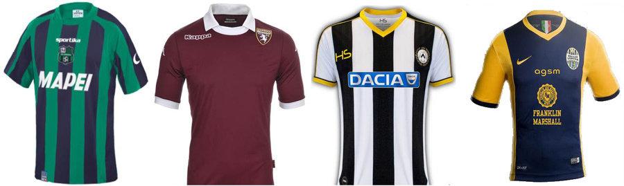 Maglie 2014-15 Sassuolo, Torino, Udinese e Verona