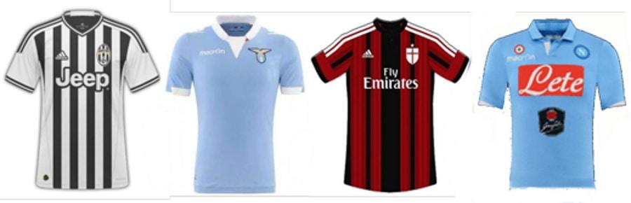 Maglie 2014-14: Juventus, Lazio, Milan e Napoli