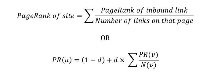 La formula del PageRank
