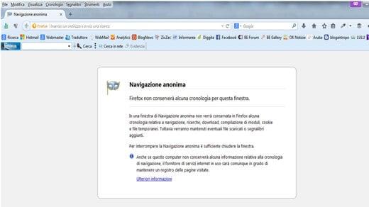 Navigazione anonima con Mozilla