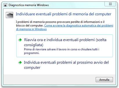 Diagnostica Memoria Windows