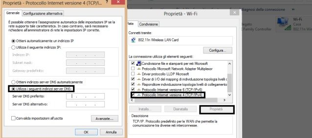 Impostare i Server DNS