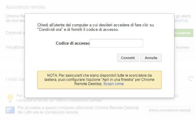 Codice Accesso Chrome Remote desktop
