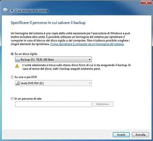 Percorso Backup - Come creare un backup per proteggere i file e il disco di Windows