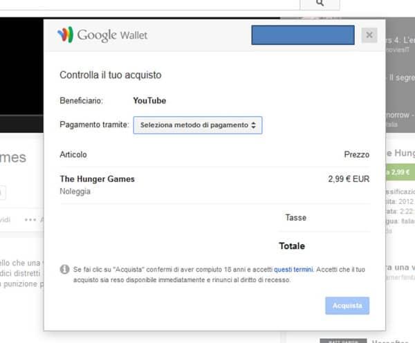 Google Wallet per pagare il noleggio