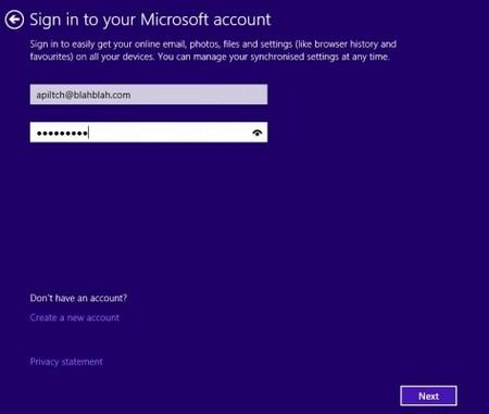 Sign account Microsoft