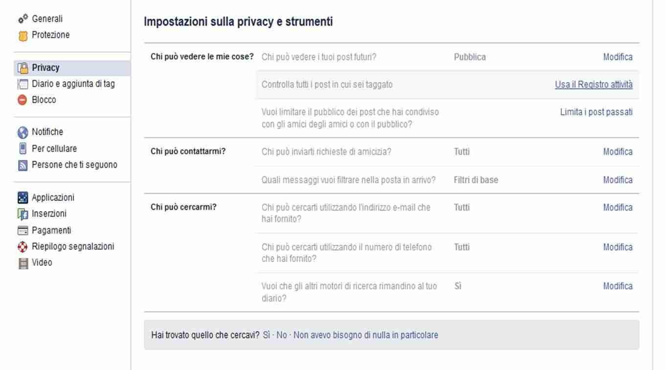 registro attività facebook