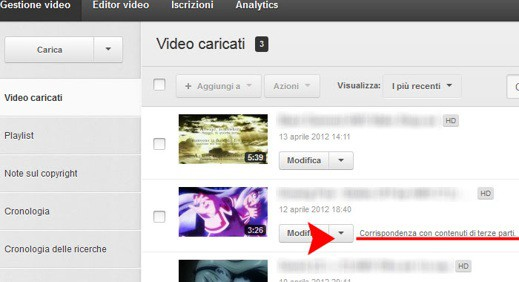 Youtube Corrispondenza contenuti di terze parti