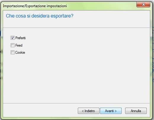 Internet Explorer: esportare i Preferiti