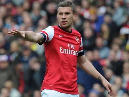 Podolski con l'Arsenal