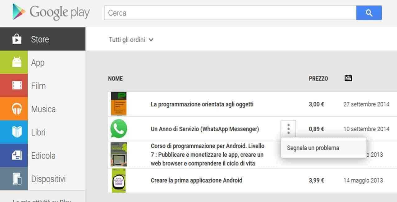 scheda rimborso app