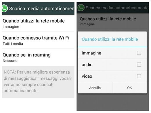 Non salvare media su WhatsApp