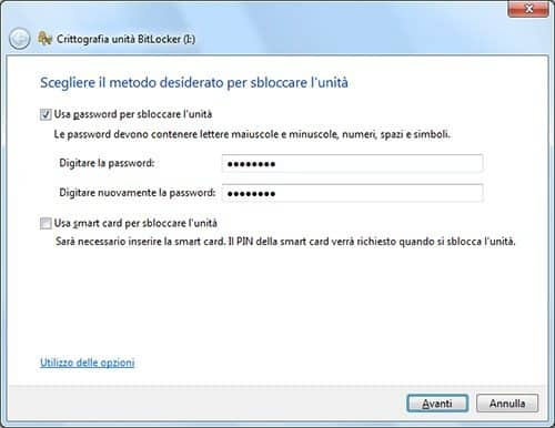 inserisci password BitLocker