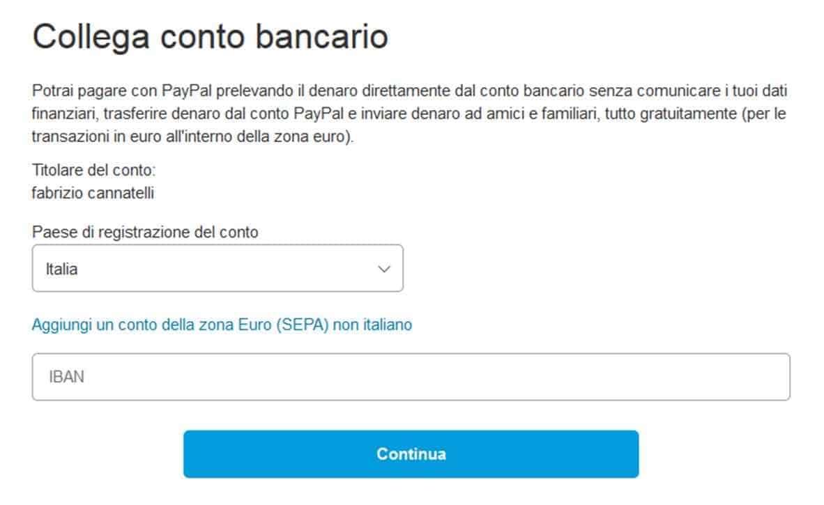 collega conto bancario
