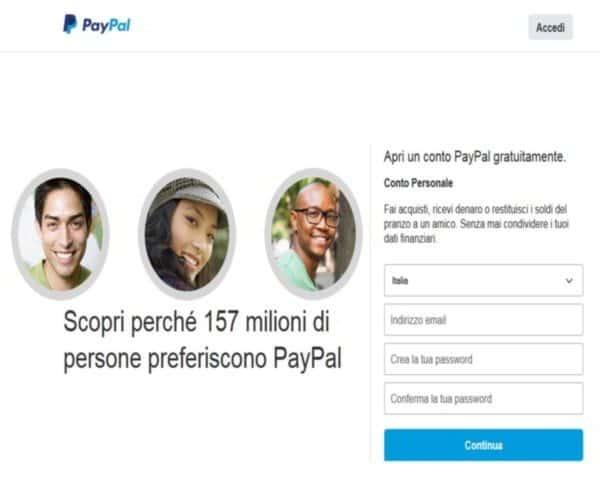 Iscrizione a Paypal
