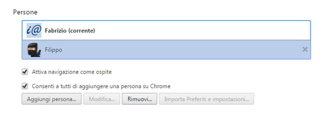Rimuovi profilo utente chrome
