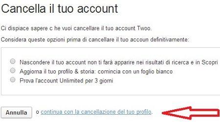 cancella account twoo2 - Come cancellare un account Twoo con utenti migrati da Netlog