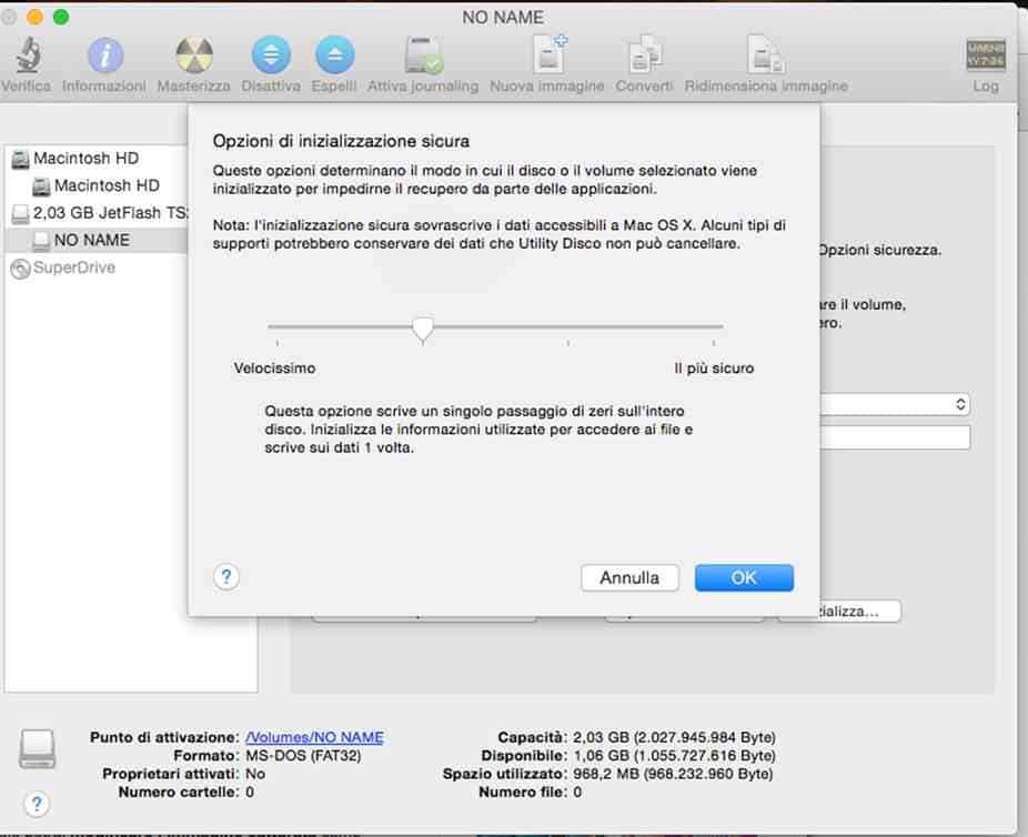 formattare pen drive mac