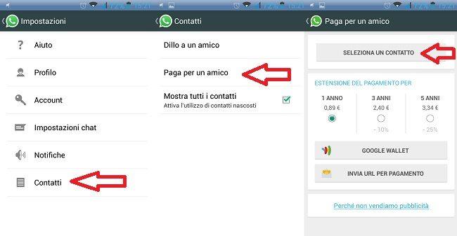 Paga per un amico con Whatsapp