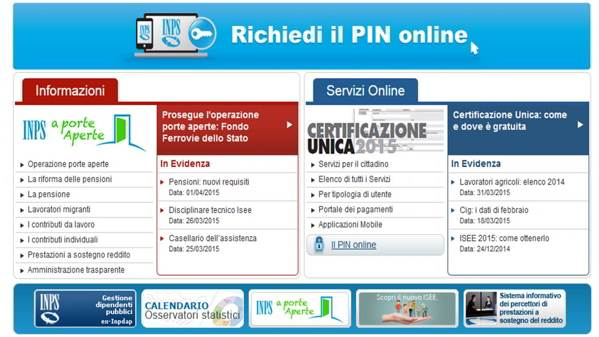 www.inps.it richiesta pin