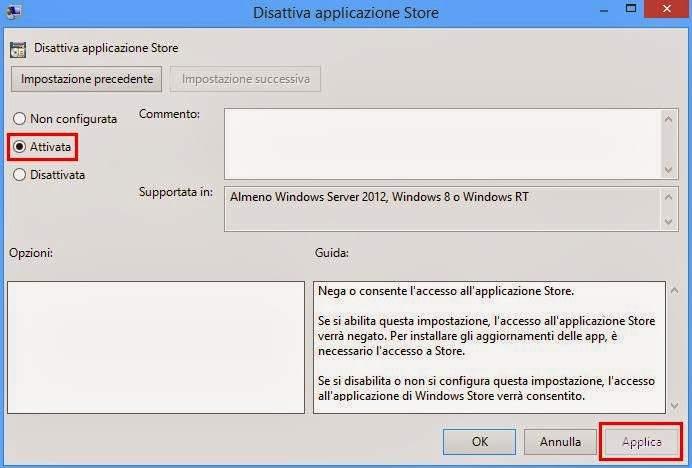 Disattiva applicazione Store