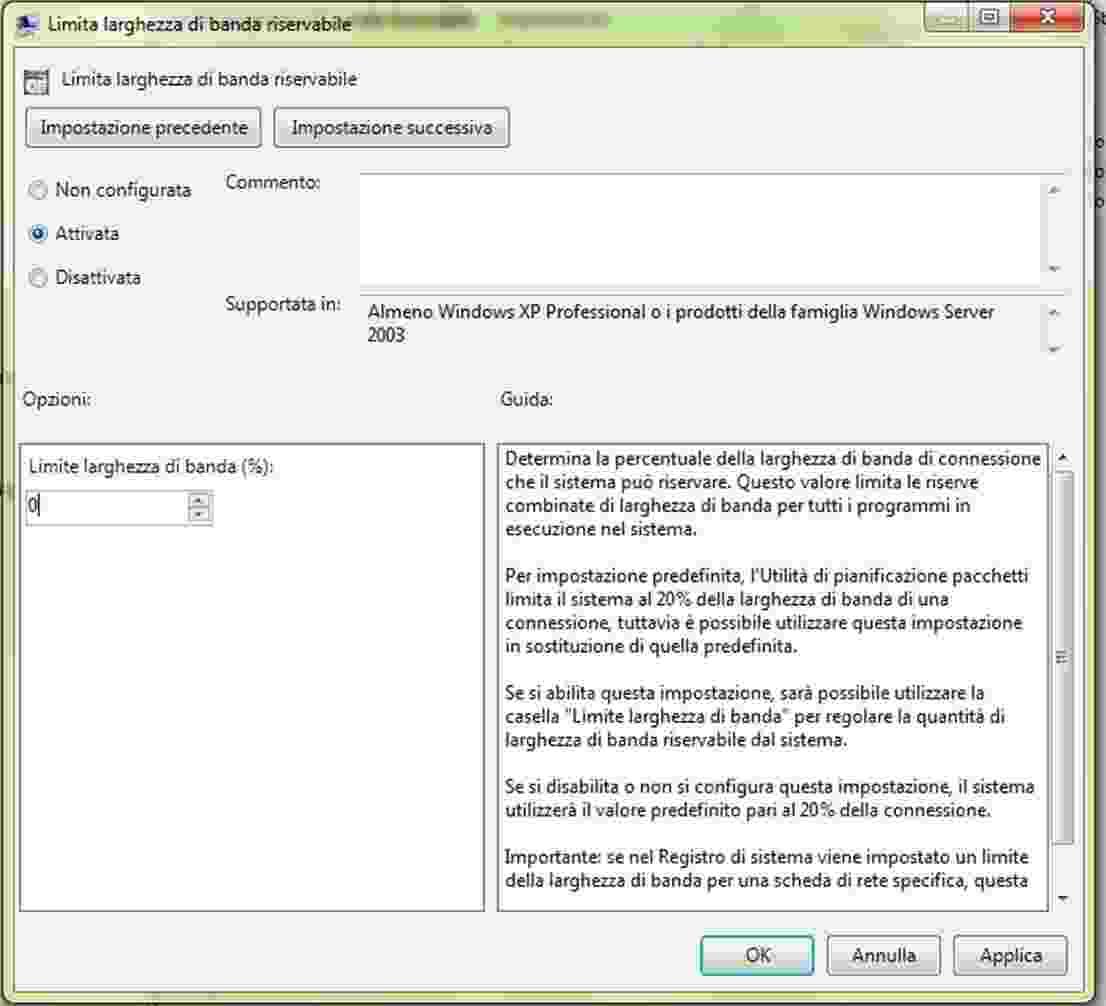 velocizzare internet con Windows 7