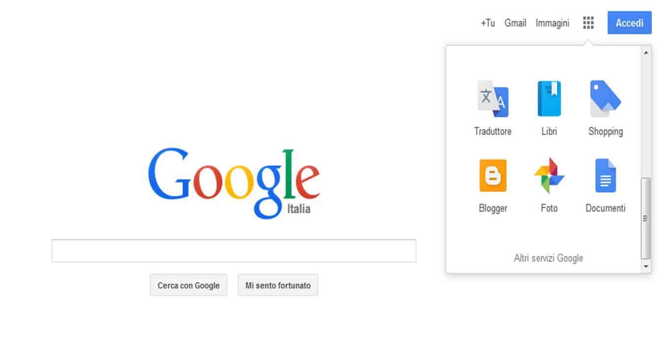 Menu di Google