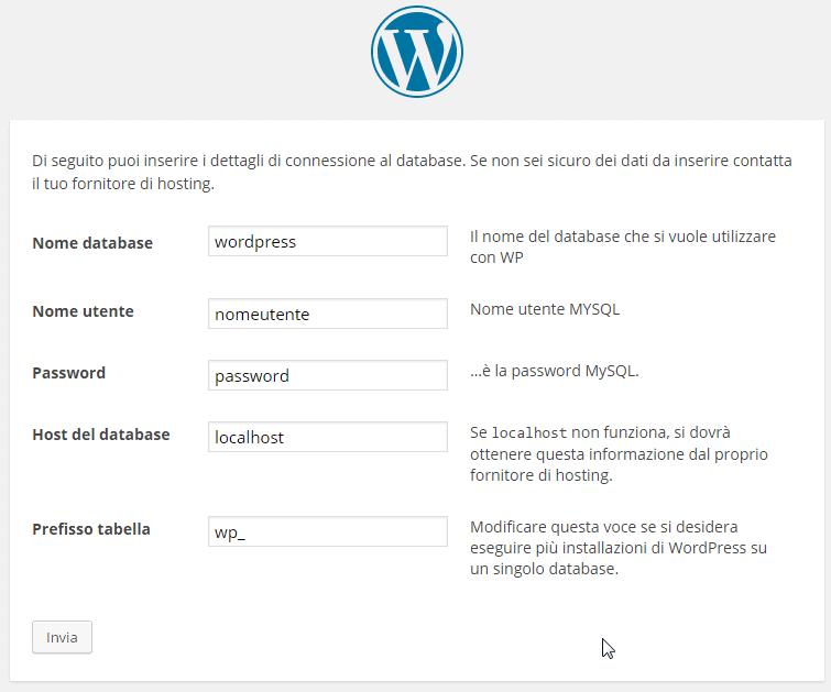 dettagli connessione DB WordPress