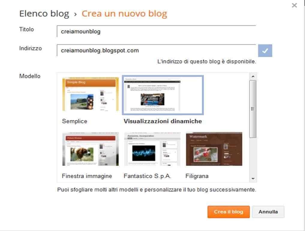 Inserisci Indirizzo del tuo blog