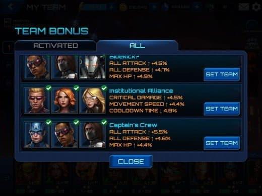 Team Bonus Marvel Fight