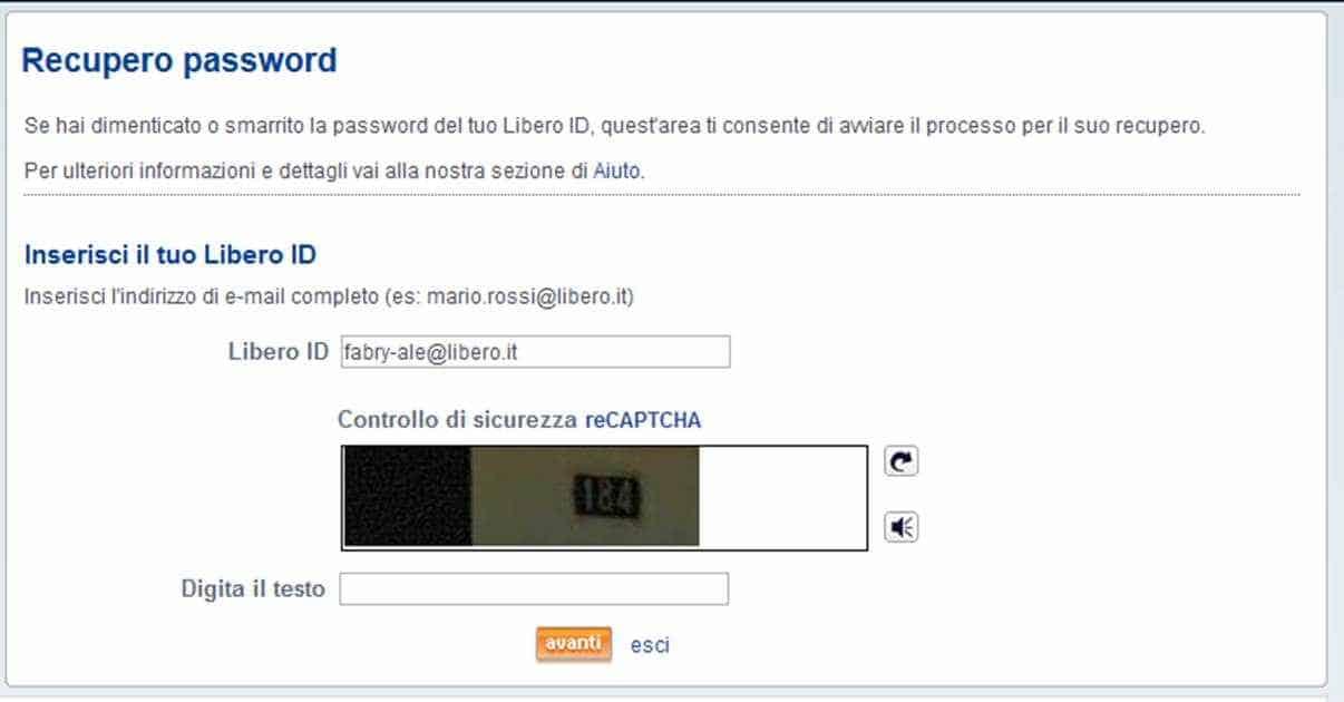 Recupero Password Libero