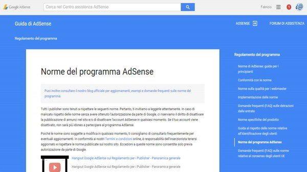Norme programma Adsense