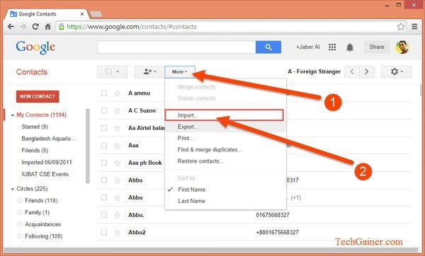 gmail importa contatti outlook