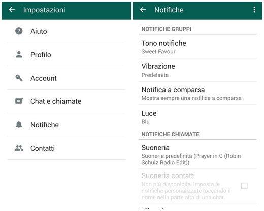 Notifiche gruppi whatsApp