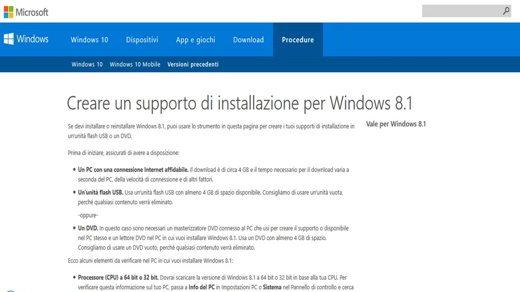Creare un supporto installazione per Windows 8.1